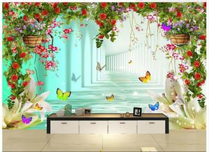 3D photo wallpaper custom 3d murals wallpaper Heart-shaped flowers studio wedding dress 3 d TV background wall paper living room wall decor