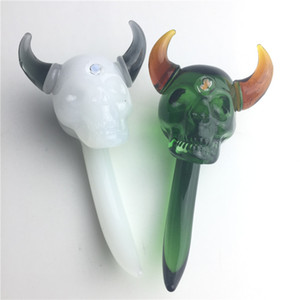 New 3 Inch Mini Dab Tool Teschio teschio di vetro Dabble strumenti Dabble di cera con verde bianco colorato Pyrex vetro spesso Dabber per fumatori