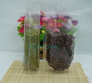 16 * 24 سم ، 100 × الوقوف عالية الشفافية ZipLock أكياس بلاستيكية قابلة لإعادة الاستخدام الحقيبة سستة الأرز ، كل كيس التعبئة الملح واضحة / القهوة