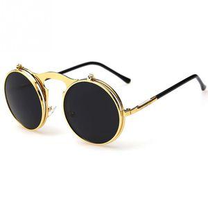 Atacado-2016 Steampunk Óculos de sol New Vintage rodada punk do vapor de metal mulheres Sunglass Homens Retro CIRCLE VIDROS DE SOL