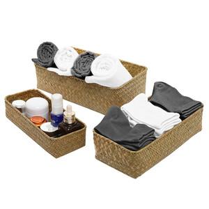 Al por mayor - 3 Tamaño teje la cesta del almacenaje de frutas Rattan Caja de almacenamiento para los cosméticos de alimentos cesta de picnic accesorios de cocina Handiwork Moda