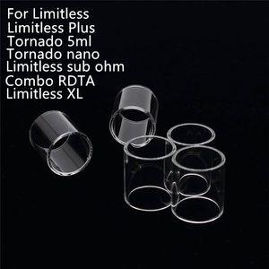 무한 기화기 교체 IXOY Limitless Plus XL Sub 용 Clear Pyrex 유리관 옴 토네이도 5ml Nano Combo RDTA E cig Tank Atomizers