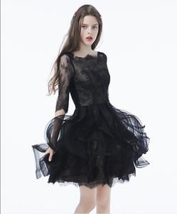 Siyah Gotik Kısa Gelinlik Ile 34 Kollu Tekne Boyun Ruffles Mini Kadınlar Gayri Olmayan Geleneksel Gelinlikler Sevimli