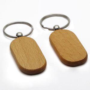 빈 키 체인 사각형 너도밤 나무 나무 열쇠 고리 큰 크기 열쇠 고리 사용자 정의 선물 호의 # KW01DC DROP SHIPPING