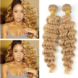 9A Barato # 27 Honey Blonde Russian Deep Wave Extensiones de Cabello Virgen 3 Unids Lot Strawberry Blonde Remy Cabello Humano Weft Trama 3 Ofertas de Bundle
