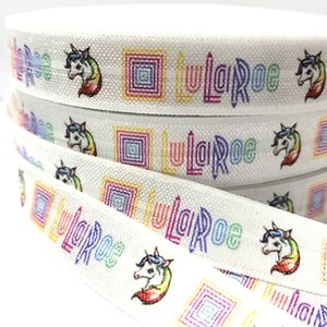 "100 yard 5/8 ""Lularoe Stampa di alta qualità Fold Over Elastic Girl Pony Code Holder Unicorno FOE 5 Colori Elastico Hair Tie Ribbon DIY Head wear"