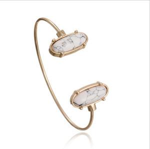 Bracciale rigido placcato in oro con pietra naturale turchese placcato oro per gioielli da donna JB16074