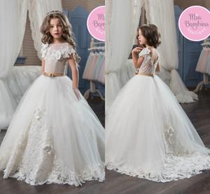2017 Prenses Sevimli Tül Kız Pageant Elbise El Yapımı Çiçek Aplike Yürüyor Çocuk Giyim Kısa Kollu Dantel Çiçek Kız Elbise MC0281