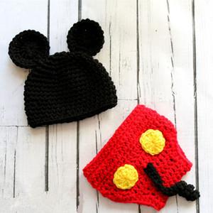 Costume de souris de bande dessinée nouveau-né adorable nouveauté, tricoté à la main au Crochet bébé fille garçon bonnet animal chapeau et couche couverture ensemble, bébé Photo Prop