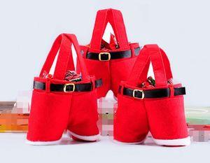 pantalones de estilo de Santa bolsa de dulces de Navidad de Navidad Bolsa de regalo de Navidad Decoración de Navidad caramelo de la boda de botellas de vino Bolsas grandes y pequeñas de tamaño
