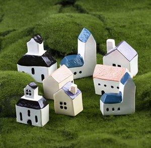 5pcs Mini casa mediterránea artesanía de resina Home Fairy Miniature Garden Bonsai Showcase Microlandchafts Gonme Totoro decoración de macetas herramientas