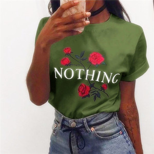 Large Stock 2017 여름 판매 여성을위한 장미 꽃 프린트 NOTHING 편지 인쇄 블라우스 여성 반팔면 T 셔츠 XS-2XL