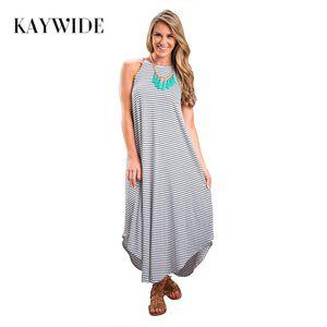 Kaywide moda 2017 preto branco listrado spaghetti strap sexy dress irregular verão maxi dress sem mangas sexy vestido de verão q171120