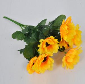 Yapay Çiçekler Gelin Buketi Ayçiçeği Ev Dekorasyonu Çiçekler Ipek Simülasyon Kafaları Parti Dekoratif Çiçek Aksesuarları 50 adet / grup