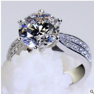 Moda platina chapeamento ms roundness amor anel de diamante micro anel de diamante com alto anel de diamante de carbono