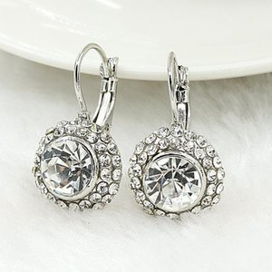 Earrings for Women Silver plated Rose Round Moon River Drop Earrings For Women Austrian Crystal Earrings