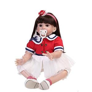 실리콘 비닐 Lifelike Girl Doll Reborn 아기 유아 장난감 아이 가짜 장난 꾸러기, 24 인치