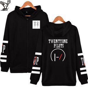 Wholesale- Twenty One Pilots Hoodies Männer Marke Zipper Cotton Warm Langarm Schwarz Winterjacke Herren Fashion Lässige Kleidung