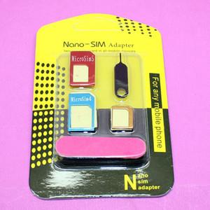 Haute Qualité 5 en 1 adaptateurs Nano Carte Sim + Micro carte SIM carte SIM Outils Pour Iphone 4 g / 5 g / 6g Avec Retail Box