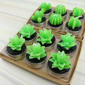 Sıcak Satış yeşil etli alevsiz mumlar ZAKKA Saksı Bitkileri Şekil Kokulu Mum Lamba noel partisi süslemeleri mumlar Malzemeleri