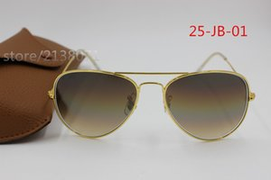 1шт Top Fashion Brand Pilot Солнцезащитные очки Дизайнер Солнцезащитные очки для мужчин Женщины Gradient сплав Металл Золото Синий стеклянный объектив 58мм Оригинальный чехол Box