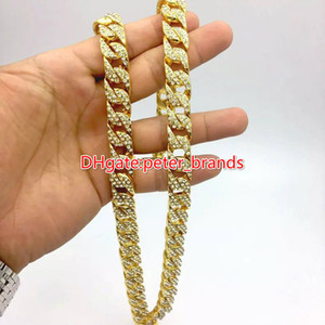 Moda Mens Gold Cuba Chain Hip Hop Rappers Colar Hot Modelo Clássico Cola Diamantes Jóias