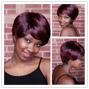 Xiu Zhi Mei 10inch Synthetic Straight Highlights Black Red Short Wigs For African American Women Natural Hair With Inclinded Bangs