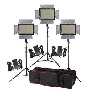 طقم إضاءة الاستوديو 3pcs Yongnuo YN900 3200-5500K CRI 95+ 900 LED ضوء الفيديو + محول الطاقة + جهاز التحكم عن بعد + حامل 2M + Boom Arm + Bag
