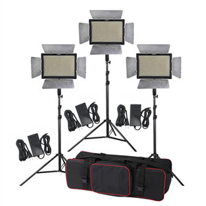 Kit de iluminación para estudio 3pcs Yongnuo YN900 3200-5500K CRI 95+ 900 LED Video Light + Adaptador de corriente + Control remoto + 2m Stand + Boom Arm + Bag