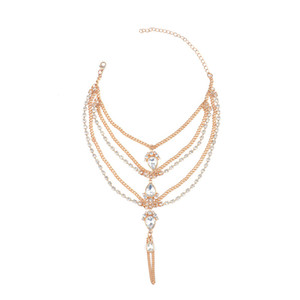Vintage 2017 Fashion Boho Rhinestone Crystal Anklet Bracelet Vintage Gypsy Maxi Women Statement Bearystal Women Fashion Jewelry
