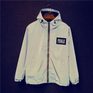 OLGITUM Vendita calda Uomini giacca 3M Giacca riflettente Giacca fluorescente maschile e femminile Giacca a vento con cappuccio Giacche S-2XL