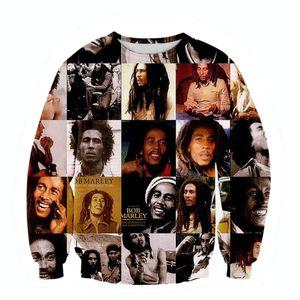 Toptan-Raisevern Yeni Stil 3d Tişörtü Mens Hoodie Bob Marley Kaya Müzik Hip Hop Tarzı Sweatsuits Kazaklar Sudaderas Hombre