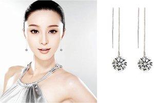 1Pair Women Silver Tassels Drop Dangle Long Chain Shiny Linear Earrings Jewelry woman girlfriend gift high quality