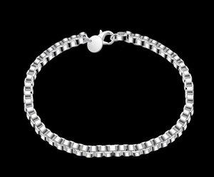 Free Shipping 14g Fashion Jewelry Silver Bracelets Box Bracelet 4mm 925 Sterling Qaehf
