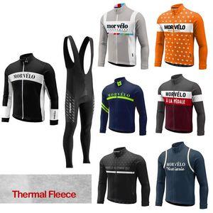 Cycle Trikot Morvelo Winter thermische Fleecehombre Langarm Pro Radsport-Trikot / Bycle Lätzchen lange Hosen Sets Winter Radsportbekleidung