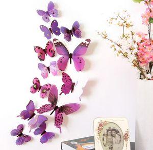 12шт / комплект Декаль наклейки стены Главная украшения 3D бабочки Радуга холодильник магнит G658