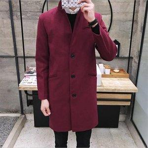 Slim 5XL Plus Size Herren Mid-Long Mantel 2021 Herbst Marke Mode Wholesale- Winter Mandarin Kragen Graben Herrenjacke Mantel Overcoat Fit Trenc Gund