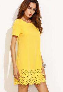Robes de designer Sheinside pour femmes Mini robes Automne Robe droite Fashion Robe jaune à manches courtes à ourlet creux Livraison gratuite