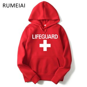 New Arrival Fashion autumn winter Men Hoodie Sweatshirt Fashion Print Lifeguard Hoodies Mens Casual Sports Pullover Red Life Guard Hoodies