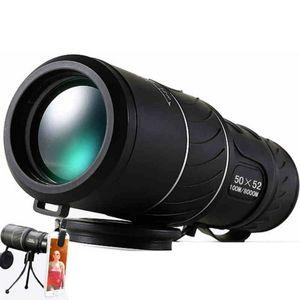 Black HD Compact Monocular Zoom 50x52 Zoom Telescope Binoculars high-power high-definition Adjustable Daytime good for gift
