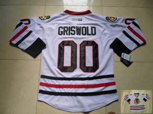Vintage Чикаго Блэкхокс Хоккей Трикотажные 00 Clark Griswold Vintage белый Дешевые Кларк Griswold прошитой Хоккей трикотажных изделий S-XXXL