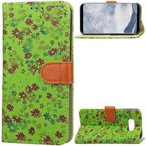 삼성 갤럭시 S8 S8 플러스 커버 케이스에 대 한 꽃 페인트 패턴 플립 커버 PU 가죽 TPU 지갑 카드 슬롯 스탠드 케이스 보호 피부