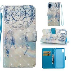 Per Iphone X Samsung Galaxy Note8 3D Bling Portafoglio in pelle della cassa del sacchetto del fumetto Strap Parigi Dreamcatcher Fiore non toccare il mio telefono stand della pelle
