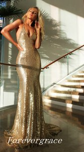 Gold Sequins Evening Dress Mermaid Floor Length Long Women Wear Special Occasion Dress Prom Party Gown Custom Made Plus Size