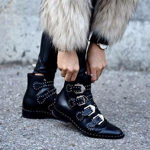 Neue Frühling Herbst Echtem Leder Taktische Stiefeletten Für Weibliche Western Vintage Nieten Studded Motorrad Punk Schuhe Frau