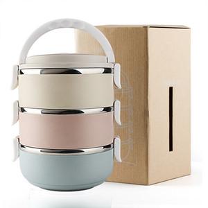 3 caixas de almoço de camada para adultos 2.1L recipientes de alimentos de aço inoxidável viajar Pinic food caixa caso Porrige thermo caso