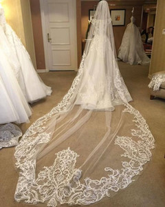 New Arrival Ivory Wedding Veils Three Meters Long With Lace Applique Edge One Layer Cathedral Length Custom Made Cheap Bridal Veil