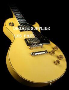 Efsanevi Axe! Beyaz Sarı Metal Legend Elektro Gitar Ebony Klavye Yaşlı Custom Randy Rhoads İmza, Pickguard On Oyma İşareti