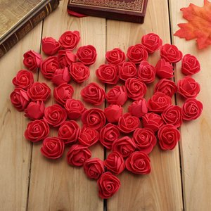 Wholesale- 100PCS Mini PE Foam Rose Artificial Flowers For Wedding Car Decoration DIY Pompom Wreath Decorative Valentine's day Fake Flowers