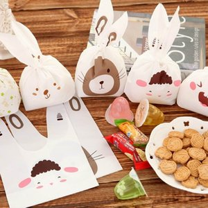 Easter bags Cute rabbit ear cookie bags Self-adhesive Plastic Bags for Biscuits Snack Baking Package food bag party Supplies
